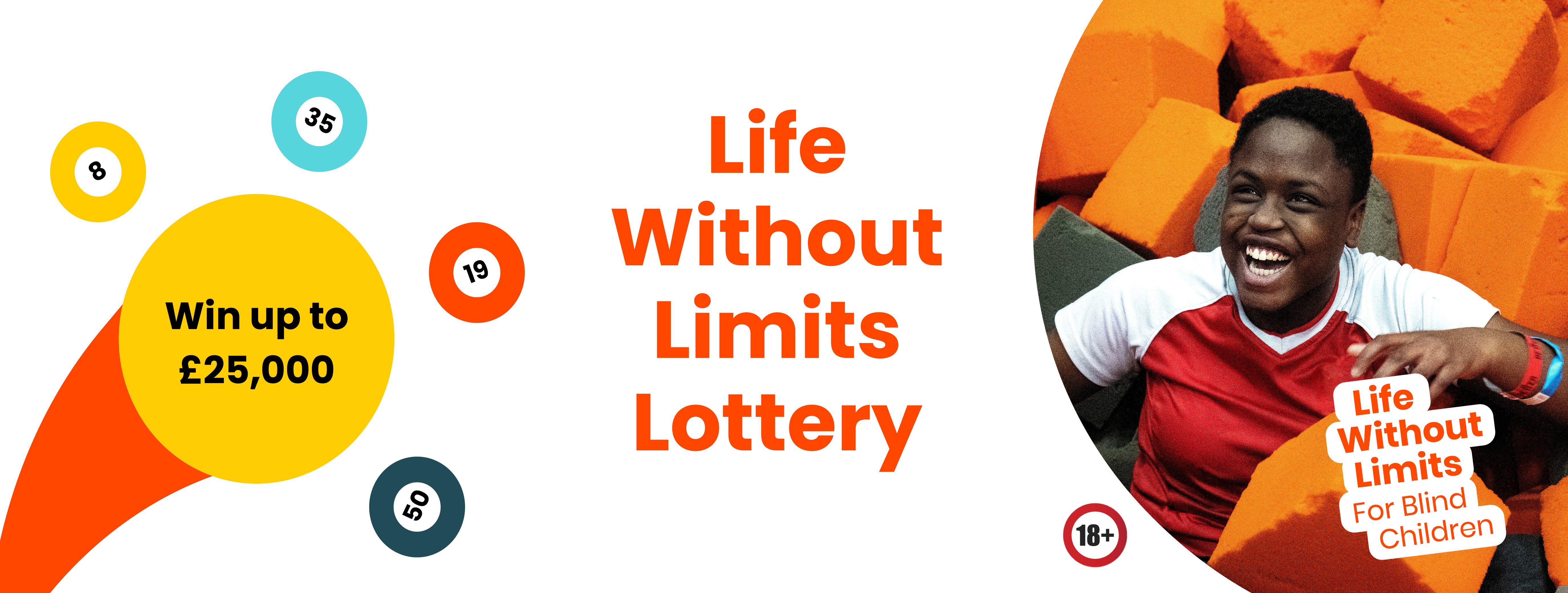 Graphic with different coloured lottery balls, the text 'Life Without Limits Lottery', and an image of a young girl smiling in a foam pit