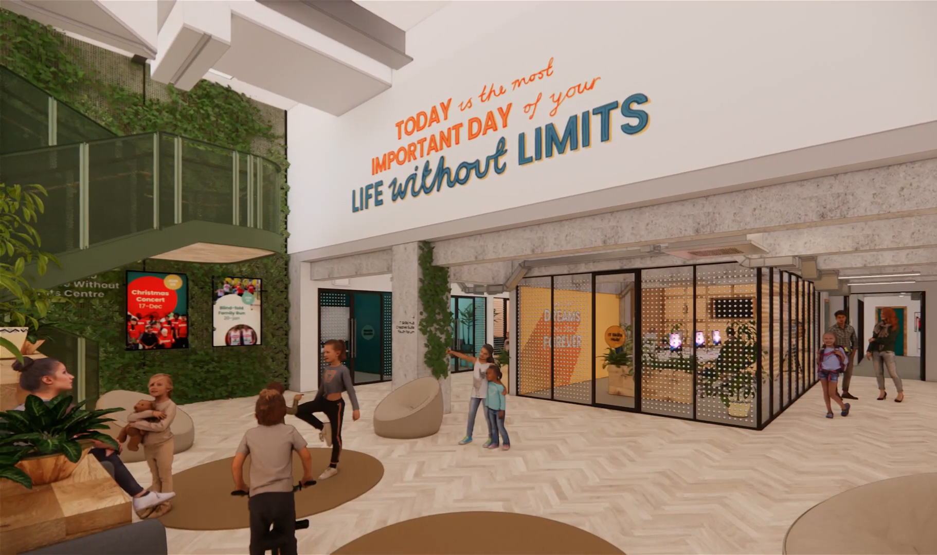 A virtual image of the lobby of the Life Without Limits Centre.